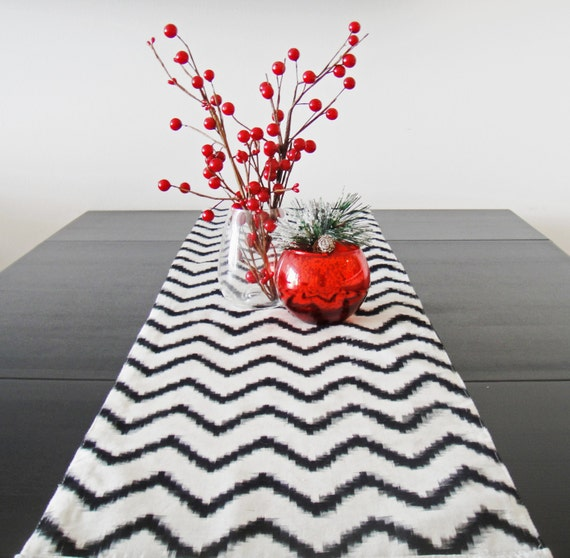 Chevron Table Runner - Black and White Cotton Lined 11x82""