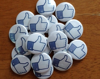 Facebook Thumbs Up Set of 20 - Buttons Pinback Buttons 1 inch, Social Media, Facebook, Facebook gifts