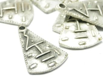 1 Piece Matte Silver Tribal Pendant, Matte Silver Abstract Jewelry, Tribal Jewelry Finding, Abstract Jewelry Findings