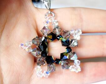 CLEARANCE Swarovski Star Necklace, Swarovski Crystals Pendant, Crystal Beads Pendant, Beaded Pendant, Black Swarovski Pendant, Large Pendant