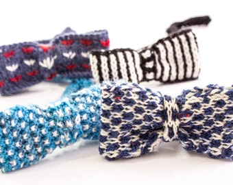 KNITTING PATTERN, Bow Ties, Boys Knit Bow Ties Patterns, Set of 4 Designs, Instant Download, Adjustable Band, Bow Tie Patterns