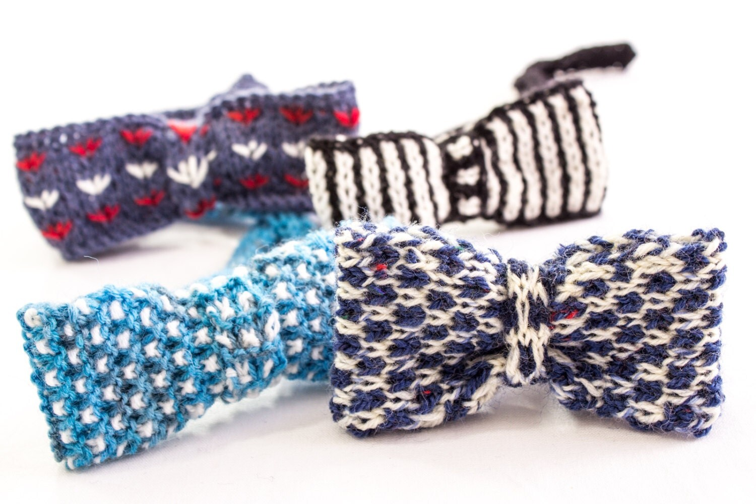 Bow Tie Knitting Pattern : KNITTING PATTERN Bow Ties Boys Knit Bow Ties Patterns Set