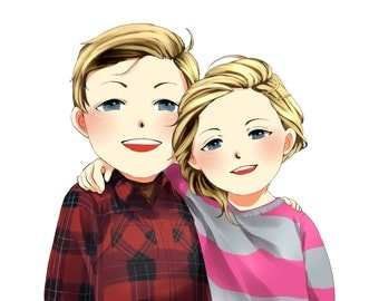 2-Person Custom Cartoon Portrait