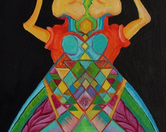 Fly Girls-Trippy Painting- Sacred Geometry- Abstract-Psychedelic Art- Two Dancers-Insect