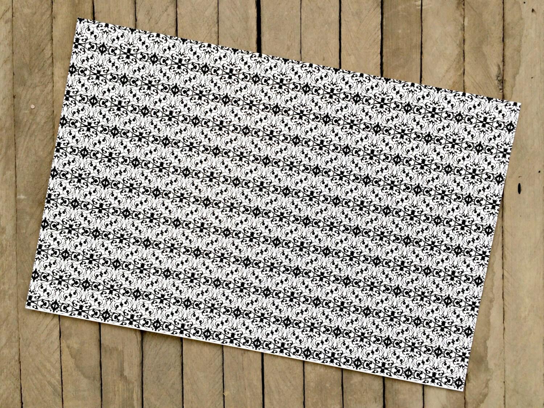 black and white damask paper placemats set of 8. Black Bedroom Furniture Sets. Home Design Ideas