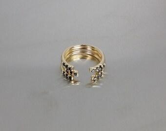 14 Karat Yellow Gold Black Diamond Cuff Ring (0.15)