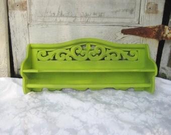 Lime green shelf with towel bar, bathroom shelf, display shelf, kitchen shelf, decorative lime green shelf, country cottage, 899