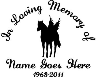 In Loving Memory of with horse angel (car/windows/notebooks/computers)