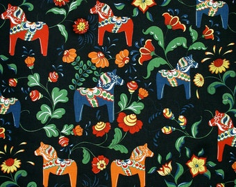 Scandinavian Swedish Dala Horses & Flowers on Black Fabric