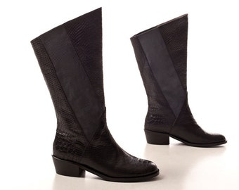 black slouch boots  - Handmade High Boots, black leather boots women, Riding Chelesa boot, black boots, free shipping