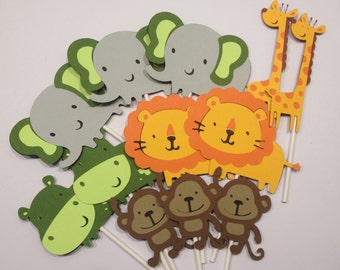 12 Zoo or Jungle Themed Cupcake Toppers