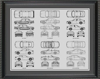 BMW 3-Series Blueprint Collection Drawing Art Car Auto Gift BBMW32024