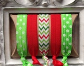 Christmas Satin Elastic Hair Ties - LovelyLylaJean