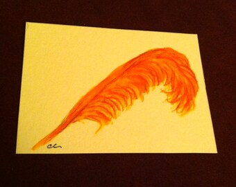 ACEO A brilliant orange feather