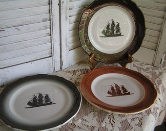 3 Vintage Mayer China Restaurant Ware Dinner Plates with Sailing Ship Motif Samples