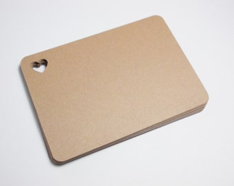 "Brown Kraft Flat Blank Note Cards with Heart, Journal Cards, Escort Cards, 2.5"" x 3.5"", 25 CT."