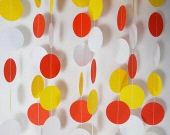 Party Paper Circle Garland Orange Yellow & White Decoration Party Decor 12'