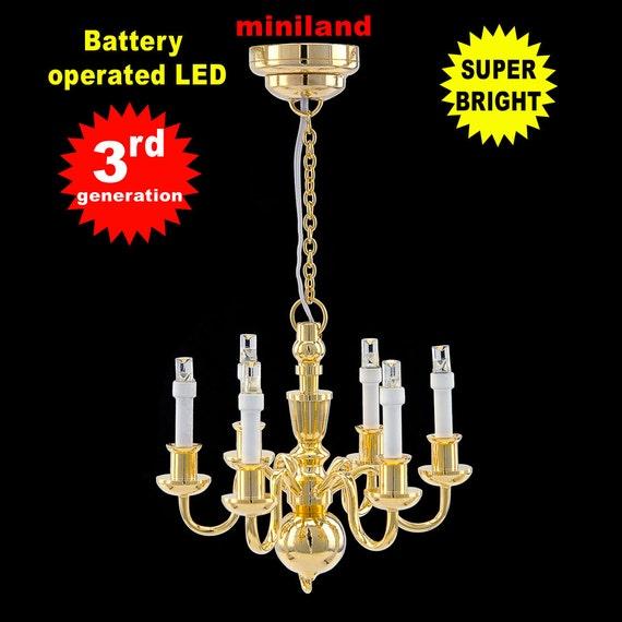 Chandelier 6 Arms LED LAMP Dollhouse Miniature Light Battery