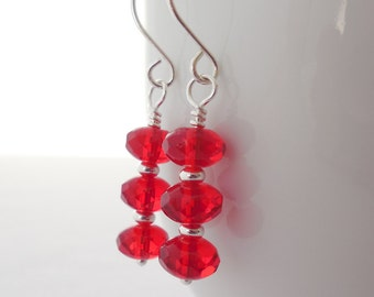 Red Glass Drop Earrings, Czech Fire Polished Glass Earrings, Beaded Drop Earrings, Czech Glass Jewelry, Red Glass Dangle Earrings