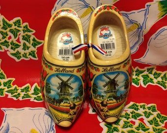 Vintage Dutch wooden shoes with images of windmills and tulips- Holland