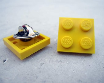 Pin made with LEGO Brick 2x2 - Yellow