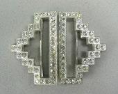 "Art Deco Rhinestone Belt Buckle 2""x 2.25"" - pristine and lovely"
