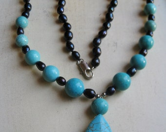 CHRISTMAS SALE: Turquoise Pendant+Beads +Black Sea Pearls Turquois Agate Necklace Blue Agate Necklace Blue Agate Pendant  Turquois