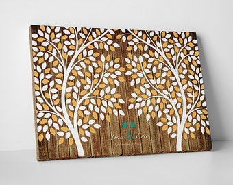 Unique Wedding Guest Book Alternative - The Twin Oaks - 55-300 guest sign in - Double Tree Guestbook