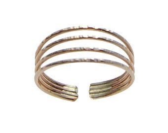 14K Gold Filled Four Band Midi Above The Knuckle Adjustable Toe Ring