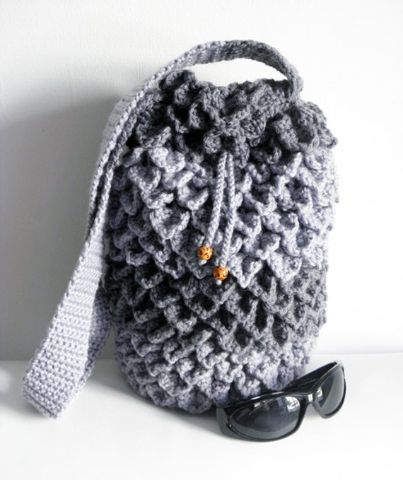 Free Crochet Pattern Crocodile Stitch Bag : Items similar to Crocodile Stitch Crocheted Drawstring Bag ...