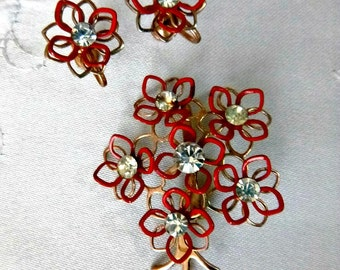 1950s Red Floral Jewelry Set Rhinestone Flower Bouquet Brooch Earrings 50s Rockabilly Mid Century PIn Vintage Valentine Jewelry Gift Set Mom