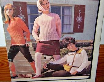 SALE Vintage Mod Fashion Knitting Pattern Crochet Booklet Catalog Magazine 1960s Knitwear Crochet Ephemera Book 60s Hand Made Hand Knits