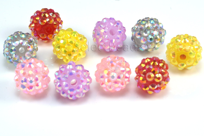 acrylic and resin rhinestone bead 10 16mm