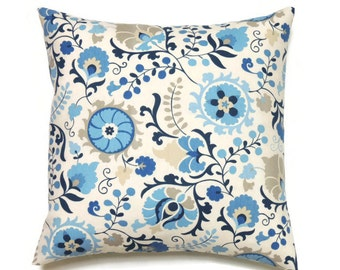 Pillow Cover, 16x16 Pillow Cover, Decorative Pillow, Throw Pillows, Floral Pillow Covers, Blue Morning Glory