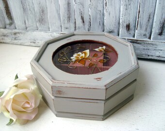Gray Vintage Jewelry Box, Small Jewelry Holder with Floral Glass, Cottage Chic, Gift Ideas