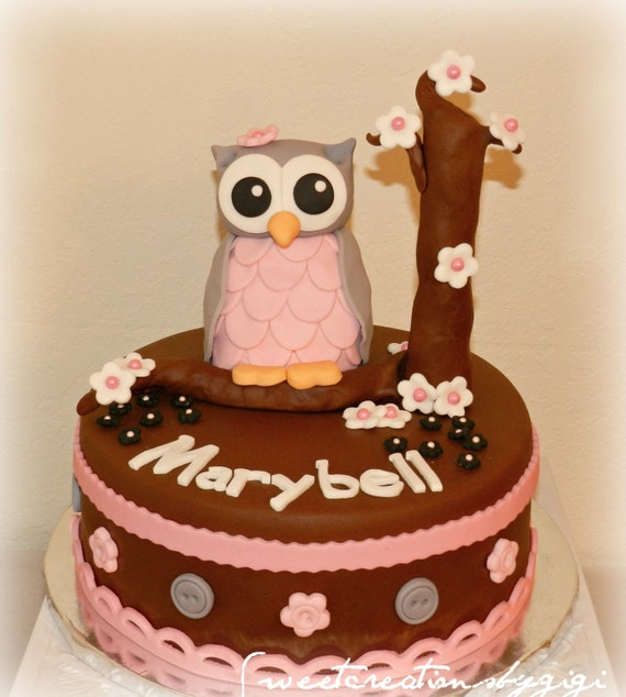 Edible Cake Image Owl : Items similar to 3D Large Pink and Gray Owl Edible Cake ...