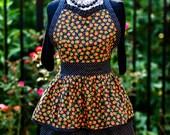 Halloween Hostess Apron, Retro Inspired Style - Ruffled Sweetheart Neckline - Two Layer Skirt - FAAP, HAFAIR, TeamHaHa