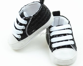 Bling Sequins Baby Shoes lace up and Soft Bottom for Newborn 0-9 months Toddler baby boys & girls