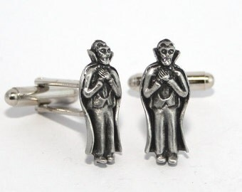 Count Dracula Cufflinks in English Pewter, British Made, Gift Boxed, vampire (H)
