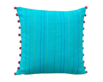 "Turquoise throw pillow cover, cotton pillow cover, house wares, rice stitch embroidery, pom pom,standard size 16""X 16"""