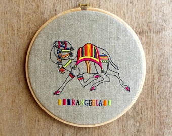 Camel Embroidery Hoop, linen with bright colors, Indian, wall art