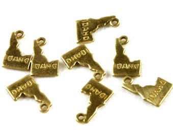 6x Brass Engraved Idaho State Charms - M057-ID