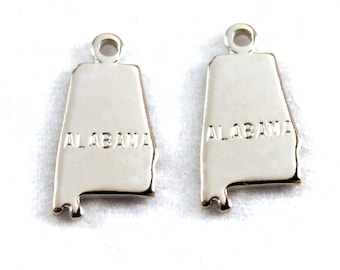 2x Silver Plated Engraved Alabama State Charms - M072-AL
