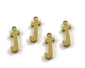 "5x Letter ""J"" Brass Initial Charms - M071-J"