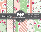 Floral digital paper SHABBY CHIC green orange, coral mint green, romantic roses flowers, plaid patterns, cottage chic, delicate rose buds