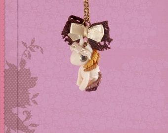 Unicorn pegasus necklace chain polymer clay pendant jewelry kawaii with loop handmade