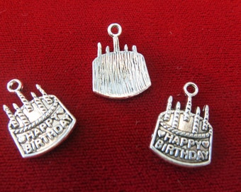 "10pc ""Happy birthday"" charms in antique silver style (BC226)"