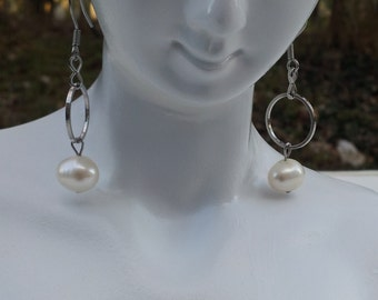 Handmade earrings with real fresh water pearl  #00E18