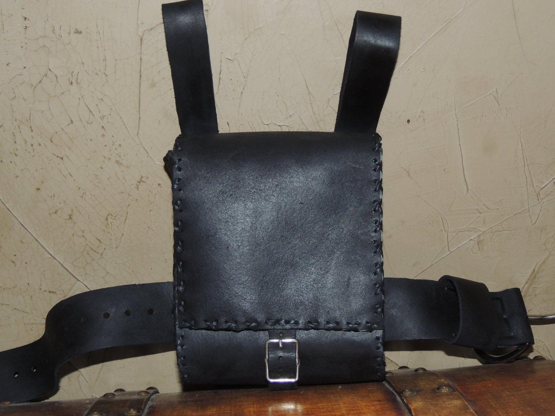 Sale Black Leather Adventure Pouch Belt Pouch Thigh