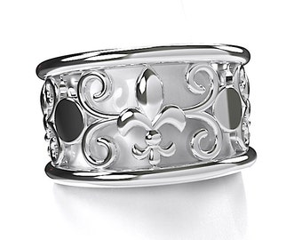 Unique Angeline Quinn Sterling Silver Fleur De Lis and Swirl Ring  Size US 6